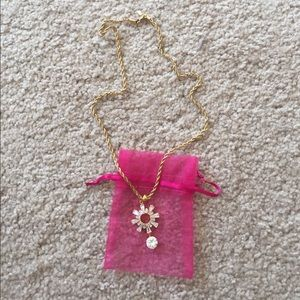 Jewelry - Gold rope necklace with CZ pendant and ring