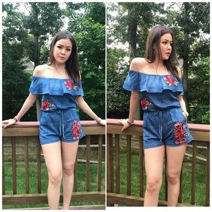 Denim Floral Patch Off Shoulder Romper