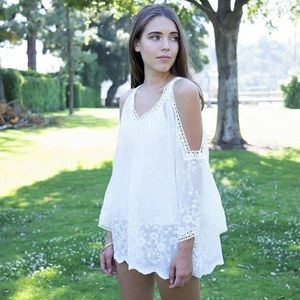 Tops - Ivory Lace Cold Shoulder Top