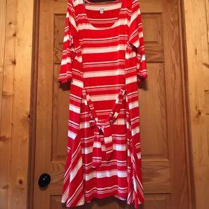Red/white stripe dress