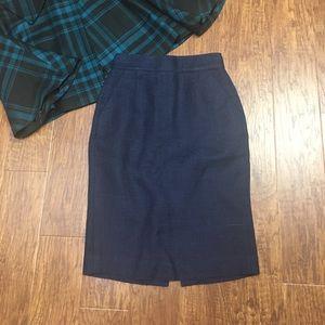 J. Crew navy blue tweed pencil skirt 00