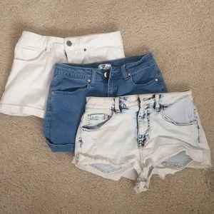 High waisted shorts bundle white blue acid wash