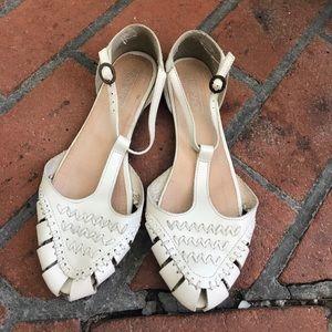 Topshop white t-strap sandals