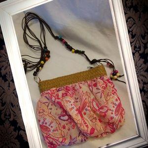Handbags - Bohemian bono print crossbody bag,  pink