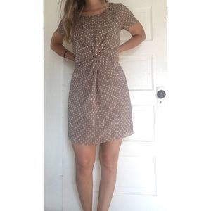 J. Crew Taupe Tan Polka Dot Short Sleeve Dress