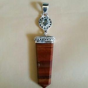 Jewelry - Artisan Jasper & Blue Topaz Sterling Pendant