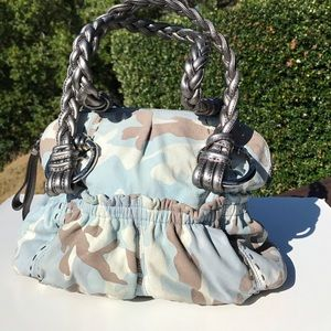 B. Makowsky Blue Camo Braided Leather Bag