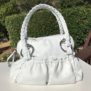 B. Makowsky White Leather Braided Satchel Bag