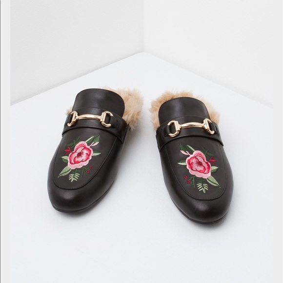 0f52a720f76 Gucci Shoes - Steve Madden Jill Floral Fur Black Leather Mules