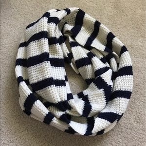 NWOT J. Crew navy and white striped infinity scarf
