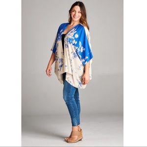 Plus Size Paisley Printed Kimono in Cobalt Blue