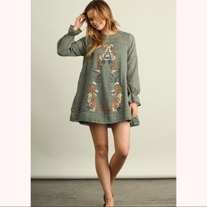 Long Sleeve Embroidered Shift Dress