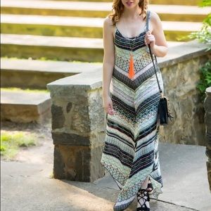 Multi-colored, printed maxi dress