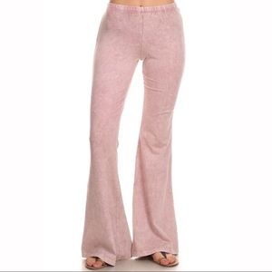 Mineral Wash Flare Pants in Light Pink