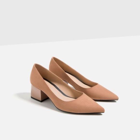 5e32bc6f93 Zara Shoes | Nude Pointed Toe Suede Block Heels | Poshmark