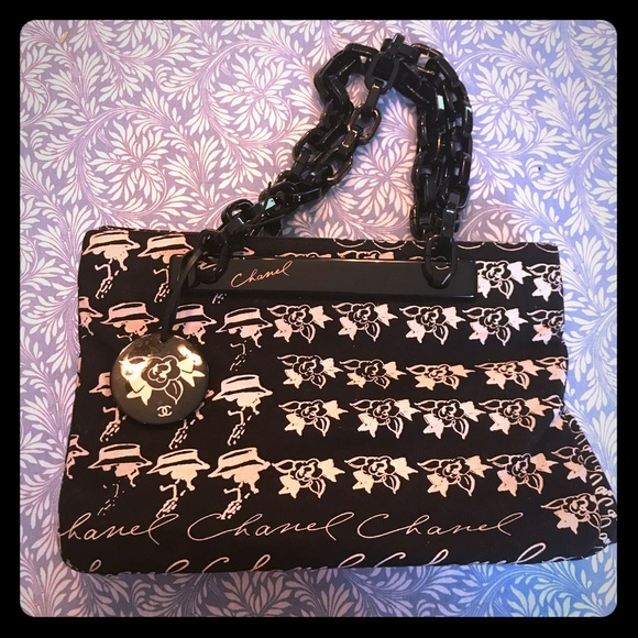 3f09afe3cc2 CHANEL Handbags - Chanel Black Canvas Print Plastic Chain Strap Bag