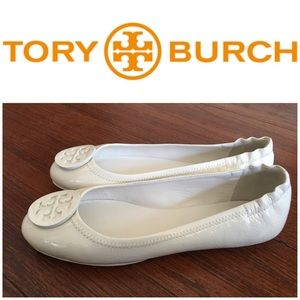 New Tory Burch White Patent Leather Flats Size 8.5