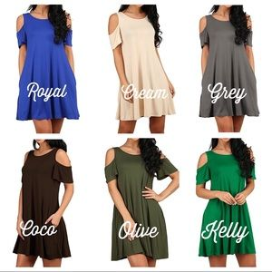 Dresses & Skirts - Cold Shoulder Swing Dress / Tunic with Pockets