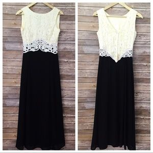 Jessica McClintock Black and cream lace gown
