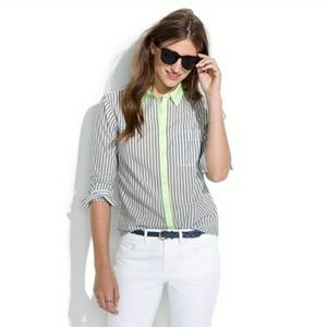 Madewell Fun Striped Button Down Cotton Shirt EUC