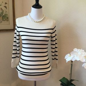 NWT TALBOTS Ivory & Navy Striped Sweater