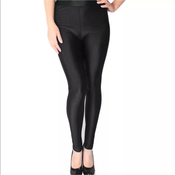 33bdb778cac6b Pants   Plus Size 14 16 Shiny Black Spandex Leggings   Poshmark