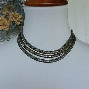 Beautiful Metal Three Strand Necklace Choker
