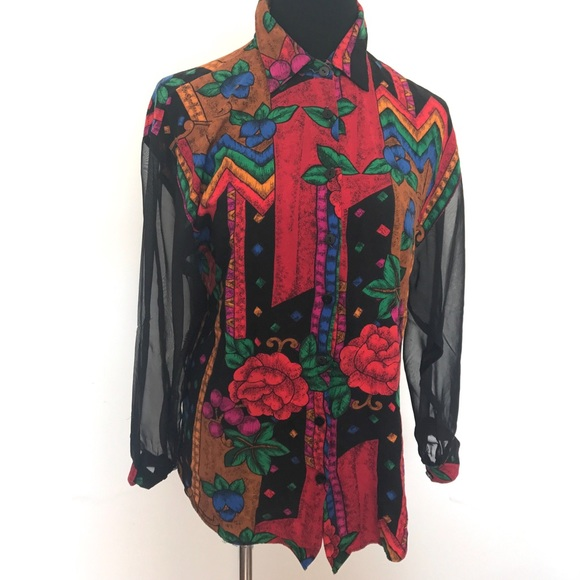 Vintage Tops - Vintage floor sheer sleeve blouse