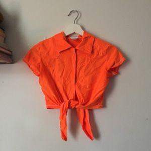 Vintage Orange Neon Crop Top Tie Front