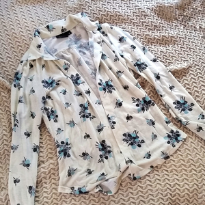 Hurley Tops - Cream & Blue Floral Button Up Shirt