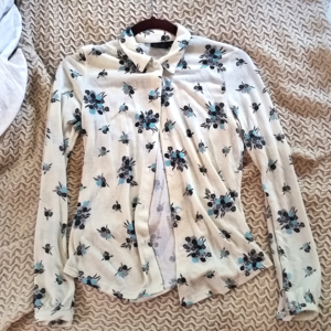 Cream & Blue Floral Button Up Shirt