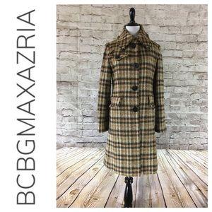 💸BCBGMaxAzria plaid wool overcoat size 6