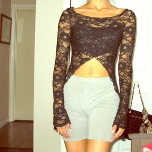 Bebe black lace long sleeve crop top size S
