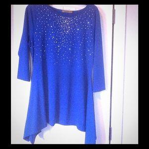 Bright Cobalt Blue 3/4 Sleeves w/BLING NWOT