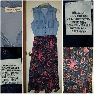 Denim/floral maxi dress size medium
