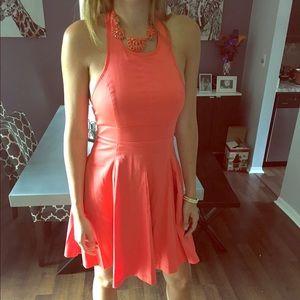 Jessica Simpson coral dress halter flowy wedding