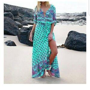 Nwot turqoise boho dress