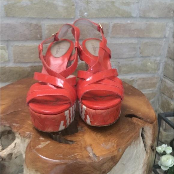 Nike Air Wedge Sandals Orange And White