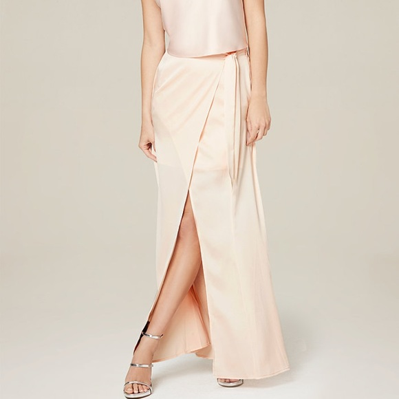f376442b5 bebe Skirts | Blush Colored Satin Maxi Skirt Nwt From | Poshmark