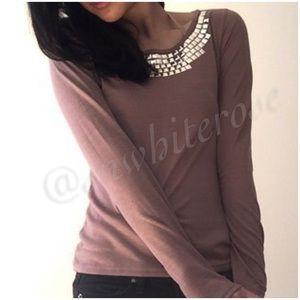 Mocha Embellished Long Sleeve Top
