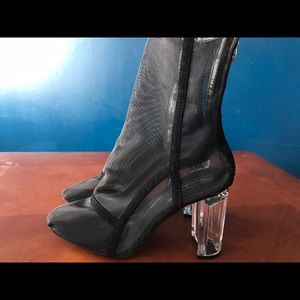 Shoes - New sexy YEEZY STYLE sheer Perspex clear heel boot