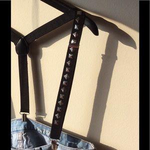 Edgy black studded suspenders