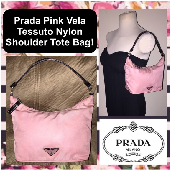 306ea608ac73 Prada Pink Vela Tessuto Nylon Shoulder Tote Bag! M 5962af0c5c12f833650203fc
