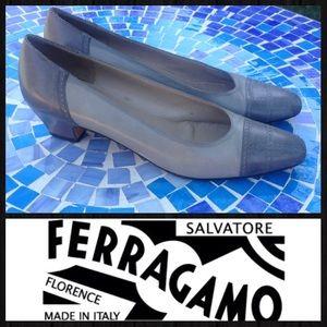 Authentic Ferragamo vintage black heels in grey