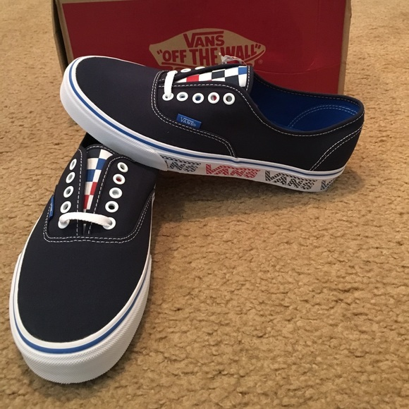 18c7dd6902a482 Authentic Vans Checker Tape Sneakers