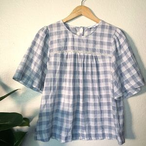 Tops - Blue and White Gingham Bell Sleeved Top