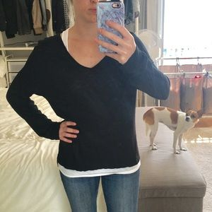 Madewell Long Sleeve V-Neck High-Low Black Shirt M