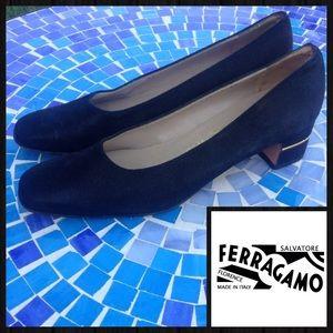 LIKE NEW!  Ferragamo vintage shimmer block heels