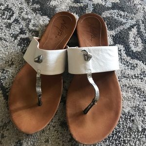 Anthropologie White and silver sandals