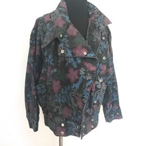 Floral Denim motorcycle bomber jacket